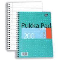 Pukka Jotta Notebook Wirebound Perforated Ruled 4-Hole 80gsm 200pp A4 Metallic Ref JM018 [Pack 3]