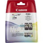 Canon PG-510 / CL-511 Original Negro, Cian, Magenta, Amarillo 2 pieza(s)