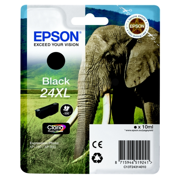 Epson C13T24314010 (24XL) Ink cartridge black, 500 pages, 10ml
