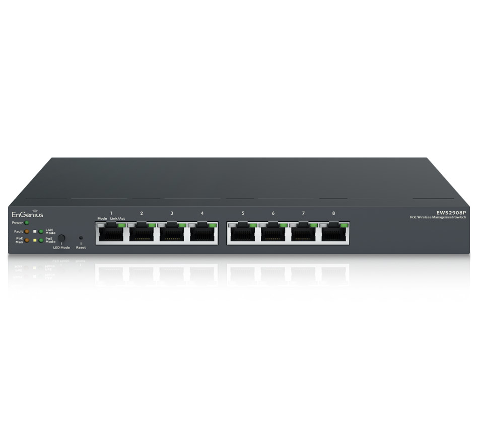 EnGenius EWS2908P Wireless Managed Smart+ switch 8-port GbE PoE.af Switch 55W manage up to 20 x AP Desktop model