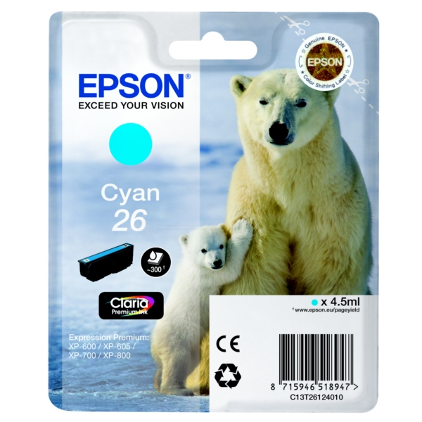 Epson C13T26124010 (26) Ink cartridge cyan, 300 pages, 5ml