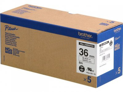 Brother HGE-261V5 P-Touch Ribbon, 36mm x 8m, Pack qty 5
