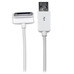 StarTech.com 2m (6 ft) Long Down Angle Apple 30-pin Dock Connector to USB Cable for iPhone / iPod / iPad with Stepped Connector