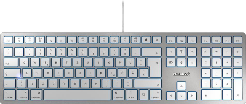 CHERRY KC 6000 SLIM FOR MAC keyboard USB QZERTY UK English Silver