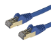 StarTech.com Cable de 0,5m de Red Ethernet RJ45 Cat6a Blindado STP - Cable sin Enganche Snagless - Azul