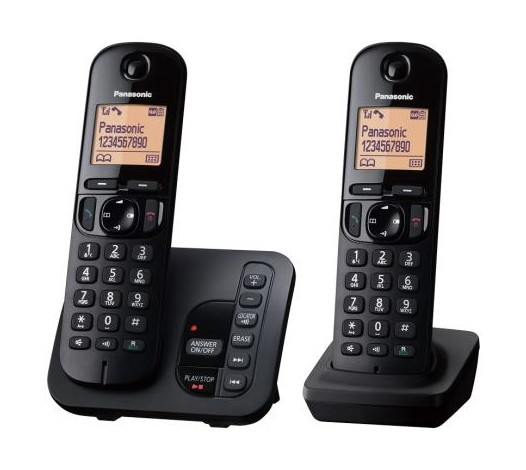 Cordless Dect Phone KX-TGC222EB with TAM and Call Blocking - Twin - Black