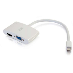 C2G 20cm Mini DisplayPort to HDMI or VGA Adapter Converter 4K UHD - White