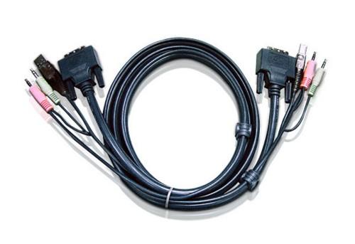 Aten 6ft USB DVI-D Single Link KVM cable 1.8 m Black