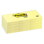 Post-It Notes, 1.5 in x 2 in, Canary Yellow, 12 Pads/Pack