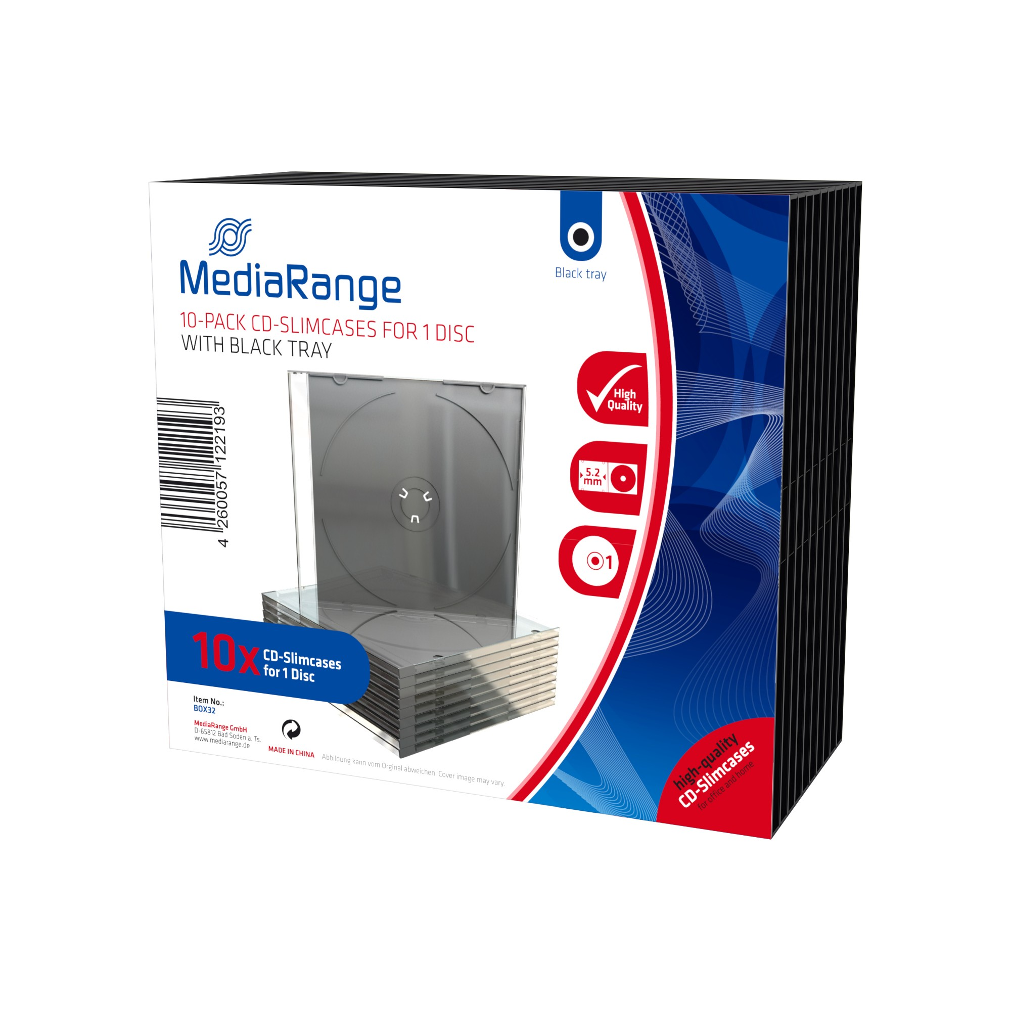 MediaRange BOX32 DVD case 1 discs Black,Transparent