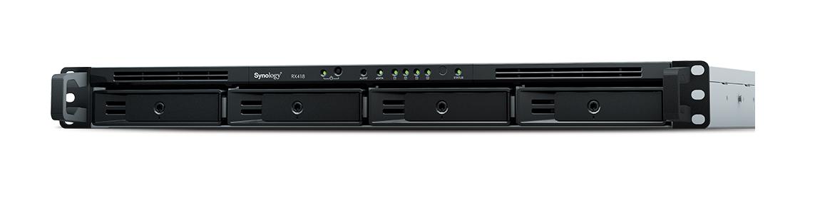 Synology RX418 unidad de disco multiple Bastidor (1U) Negro, Gris