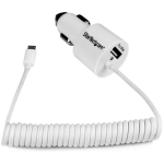 StarTech.com Dual-Port Car Charger - USB with Built-in Micro-USB Cable - White