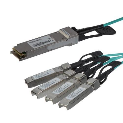 StarTech.com Cisco QSFP-4X10G-AOC10M Compatible QSFP+ Active Optical Breakout Cable - 15 m (49 ft)