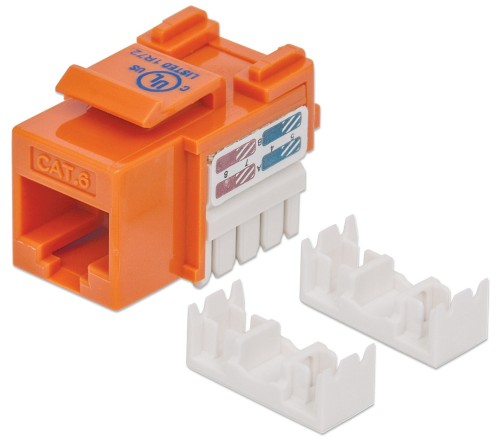 Intellinet Keystone Jack, Cat6, UTP, Punch-down, Orange