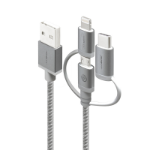 ALOGIC 3-in-1 Charge & Sync Cable - Micro USB Lightning & UBS-C - 30cm Space Grey - PRIME Series (Apple Certified)