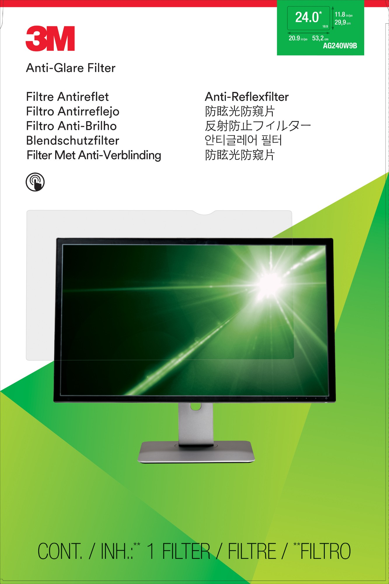 Display Anti-glare Filter - Ag240w9b - 24in Wide - Clear