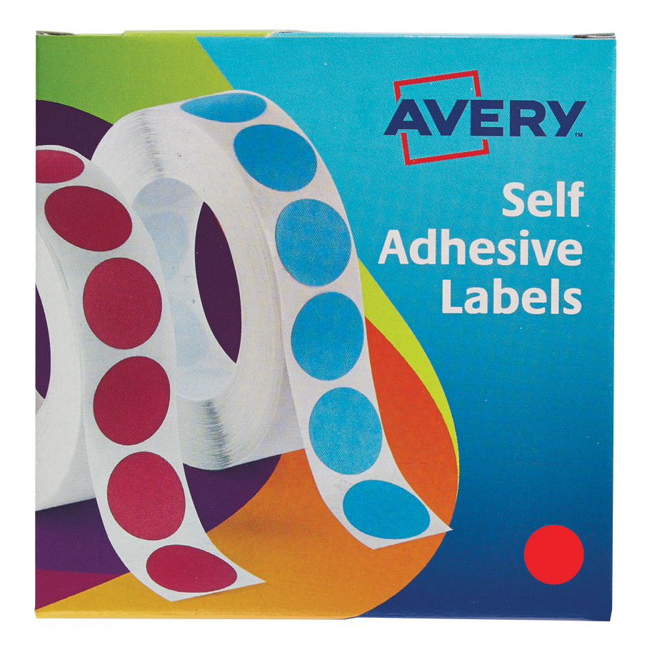 Avery Labels on Roll 19mm Red 24-506