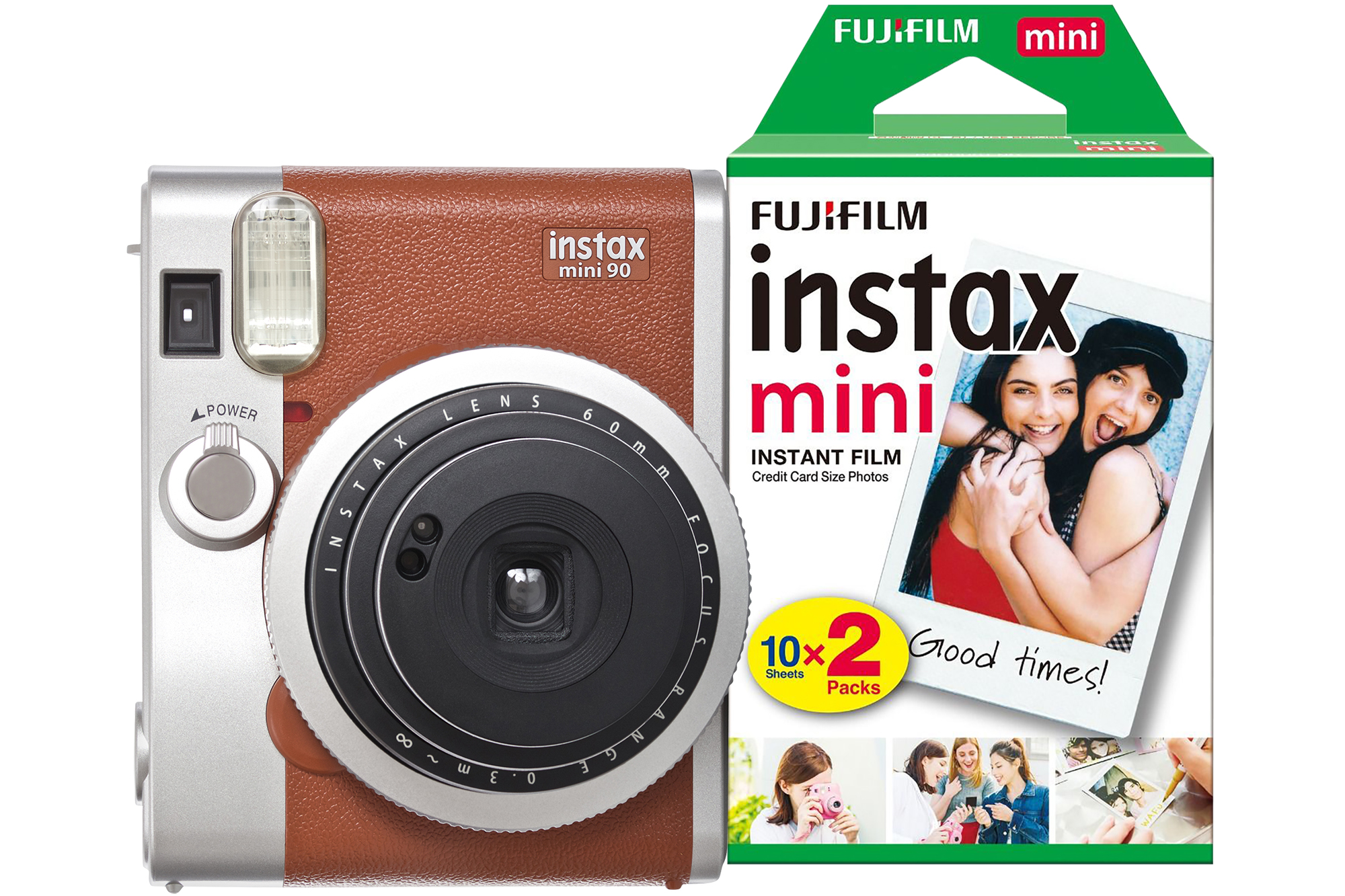 Fujifilm Instax Mini 90 Instant Camera - Brown inc 30 Shots