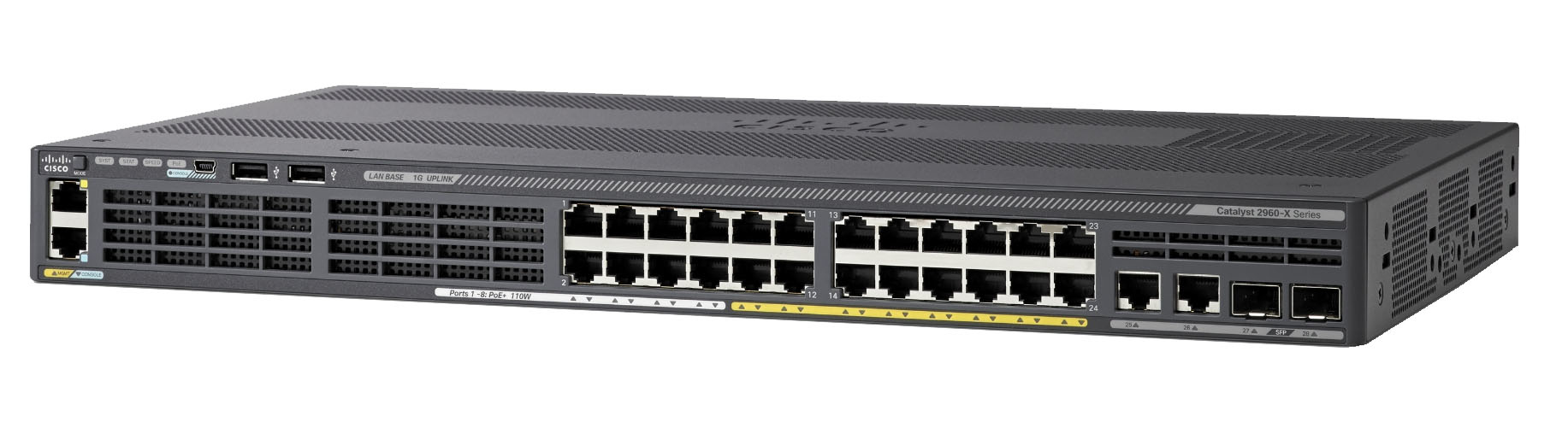 Cisco Catalyst 2960-X Managed L2/L3 Gigabit Ethernet (10/100/1000) Power over Ethernet (PoE) Black