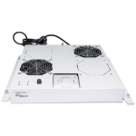 """Intellinet 2-Fan Ventilation Unit for 19"""" Racks, Roof Mount, with Thermostat, Grey"""