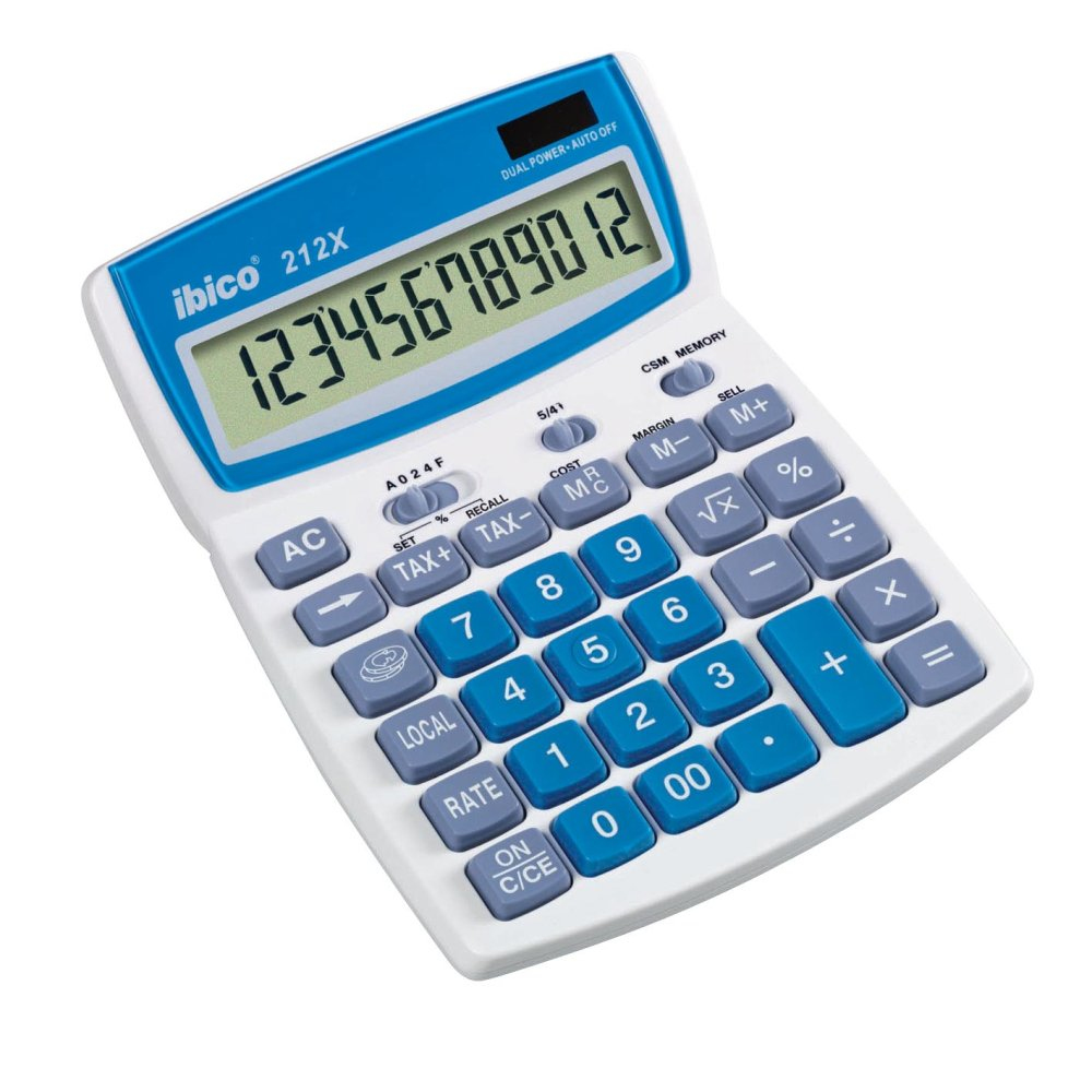 IBICO 212X CALCULATOR DESKTOP BASIC BLUE,WHITE