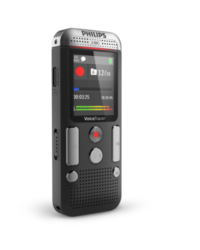 Philips 2000 series DVT2510 dictaphone Internal memory & flash card Anthracite,Chrome