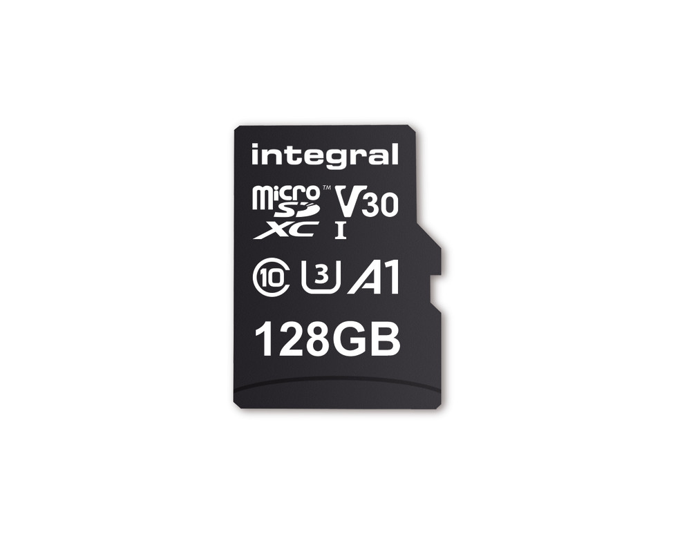 Integral INMSDX128G-100V30 128GB MICRO SD CARD MICROSDXC UHS-1 U3 CL10 V30 A1 UP TO 100MBS READ 45MBS WRITE memory card MicroSD UHS-I