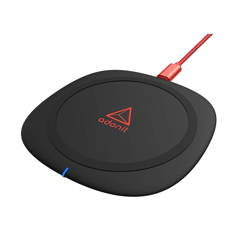 Adonit Wireless Charging Pad with Nylon Braided Cable, QC3.0 10W Fast Charging for Qi Enabled Devices, iPhone X/iPhone 8/Plus/Samsung Galaxy S9/Plus/S8/Plus/S7 Edge Note 7/8/9 - Black