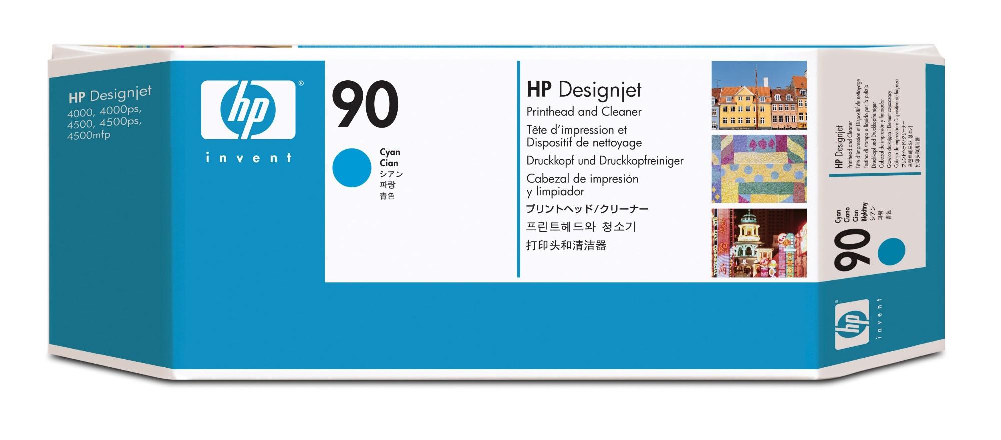 HP Limpiador de cabezales de impresión y cabezal de impresión DesignJet 90 cian