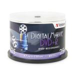 "Verbatim DigitalMovieâ""¢ DVD+R 4.7GB 8X 25pk Spindle 4.7GB DVD+R 25pcs"