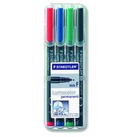 Staedtler Lumocolor 318 WP4 permanent marker Black,Blue,Green,Red Fine tip 4 pc(s)