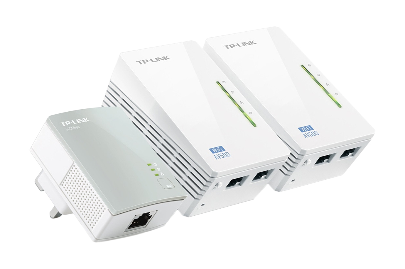 Powerline Universal Wi-Fi Range Extender, 2 Ethernet Ports, Network Kit Av500