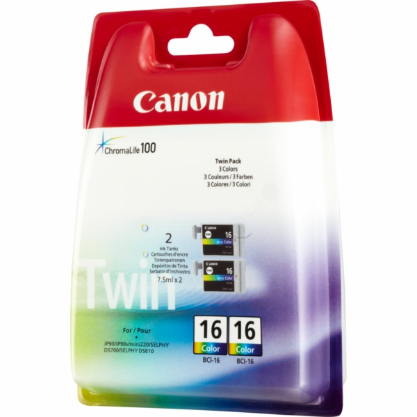 Canon 9818A002 (BCI-16 C) Ink cartridge color, 100 pages @ 5% coverage, 3ml, Pack qty 2
