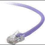 "Belkin Cat5e, 2ft, 1 x RJ-45, 1 x RJ-45, Purple networking cable 23.6"" (0.6 m)"