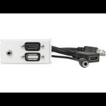 VivoLink WI221281 HDMI + USB A + 3.5mm White socket-outlet