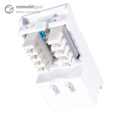 CONNEkT Gear Single IDC RJ45 Shuttered Module 25 x 50mm (CAT6) - White