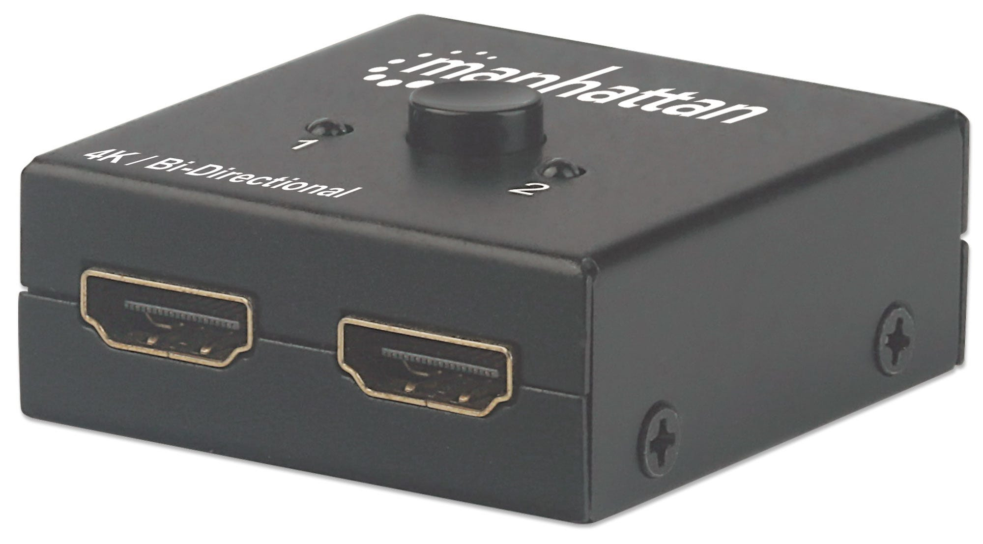 Manhattan HDMI 4K Splitter/Switch 2-Port, Bi-Directional, 4K@30Hz, Manual Selection, Passive (No Power Required), Black