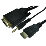 Cables Direct 77HDMI-VGCBL033 video cable adapter 1 m HDMI VGA (D-Sub) + 3.5mm Black