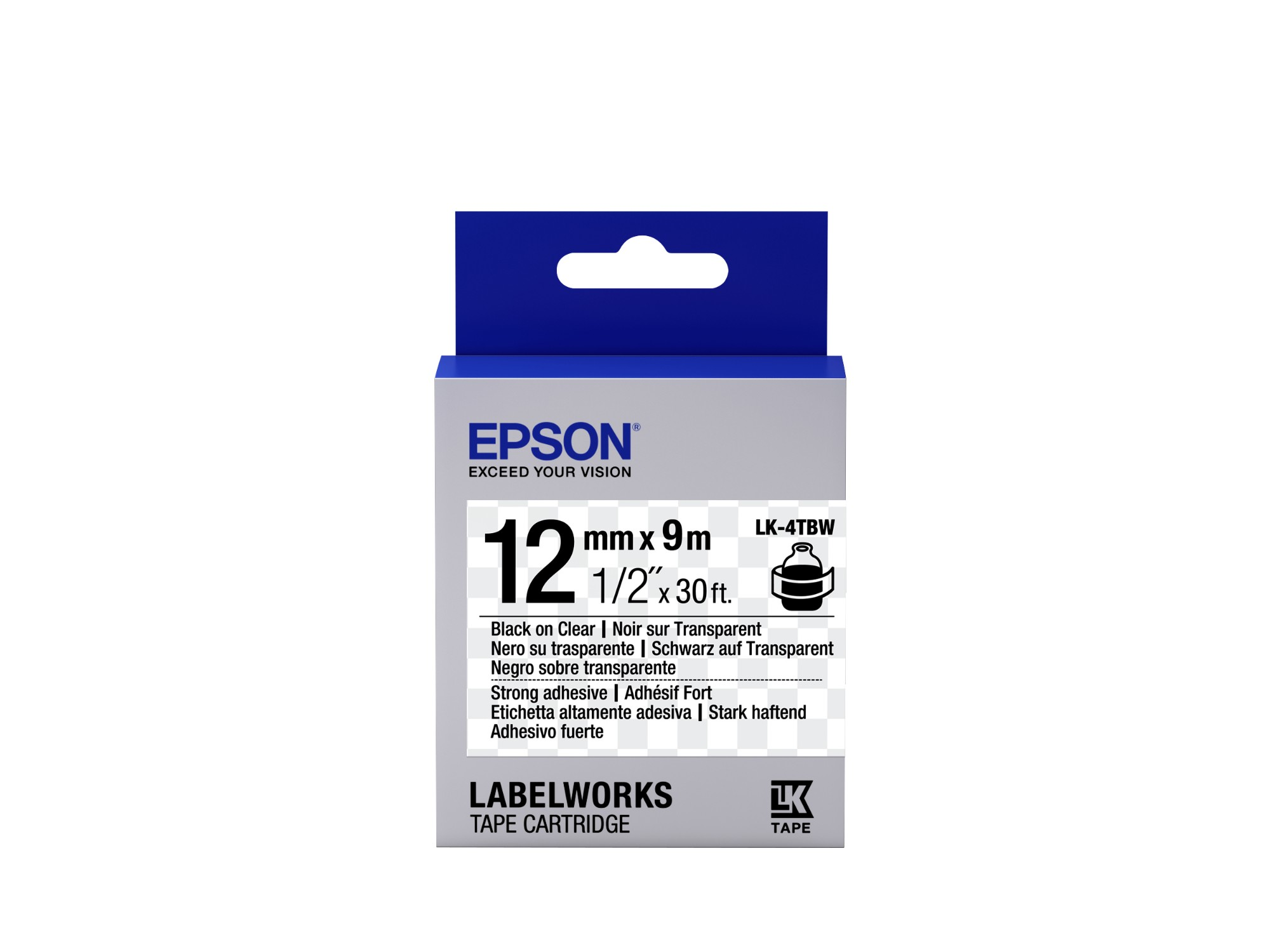 Epson Strong Adhesive Tape - LK-4TBW Strng adh Blk/Clear 12/9