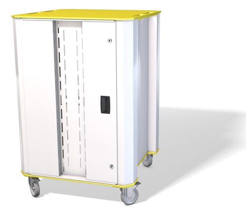 NUWCO PLASCHROME32Y Portable device management cart White,Yellow