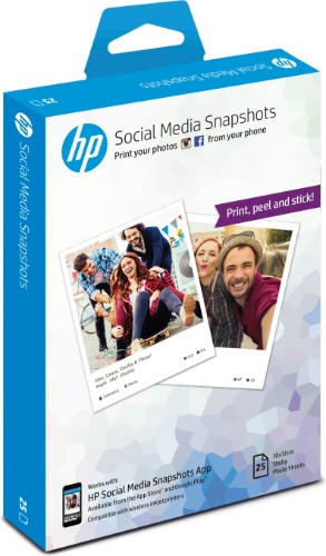 HP Social Media Snapshots Removable Sticky -25 sheet/10 x 13 cm photo paper White Semi-gloss