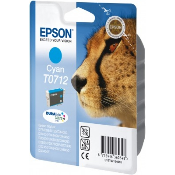 Epson C13T07124011 (T0712) Ink cartridge cyan, 345 pages, 6ml