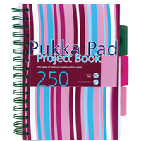 Pukka Project Book Wirebound Perforated Ruled 3-Divider 80gsm 250pp A5 Assorted Ref PROBA5 [Pack 3]