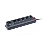 Gembird EG-PMS2-LAN 6AC outlet(s) 250V 1.8m Black surge protector