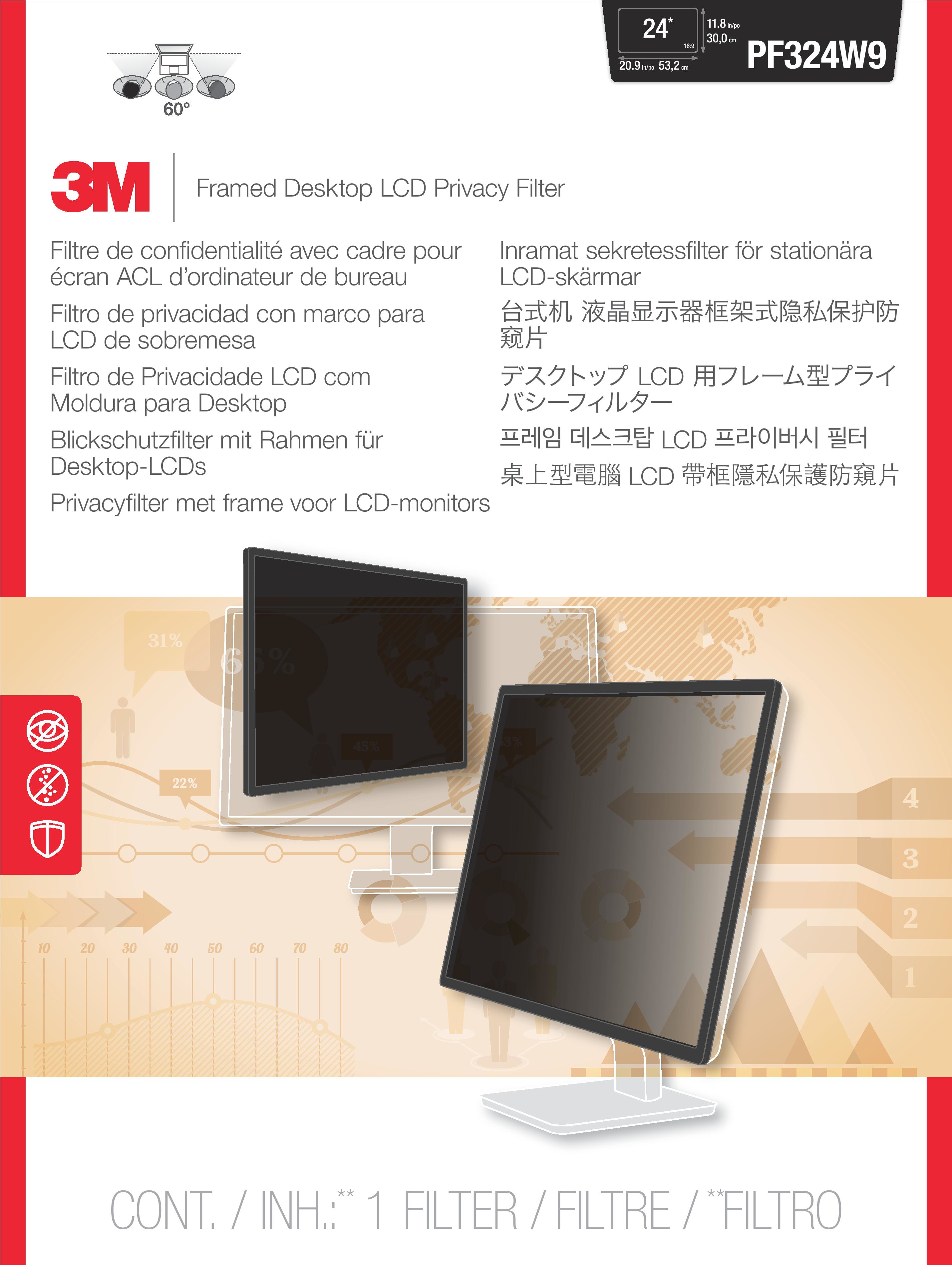 3M PF324W9 Framed Privacy Filter for Widescreen Desktop LCD Monitor 16:9