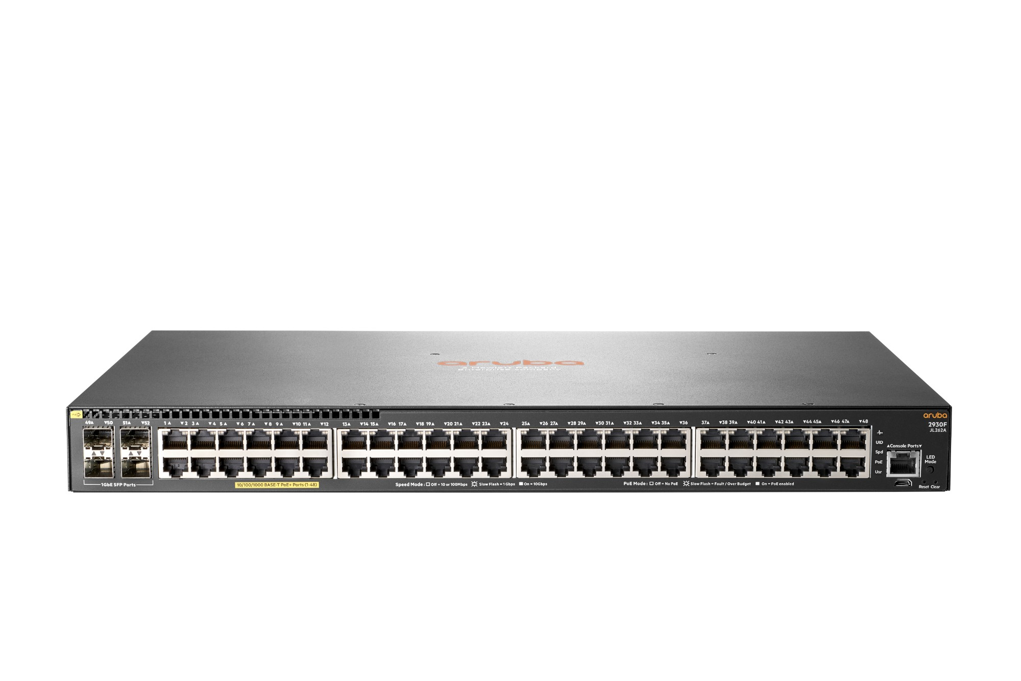 Hewlett Packard Enterprise Aruba 2930F 48G PoE+ 4SFP Managed network switch L3 Gigabit Ethernet (10/100/1000) Power over Ethernet (PoE) 1U Grey