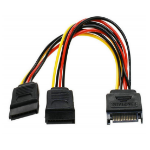 8WARE SATA Power Splitter Cable 15cm 1 x 15-pin  - 2 x 15-pin Male to Female
