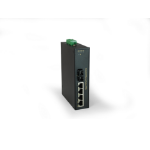 LevelOne 5-Port Industrial Fast Ethernet PoE Switch, 4 PoE Outputs, 802.3at PoE+, 1 Port SC Multi-Mode Fiber, 2km, 126W