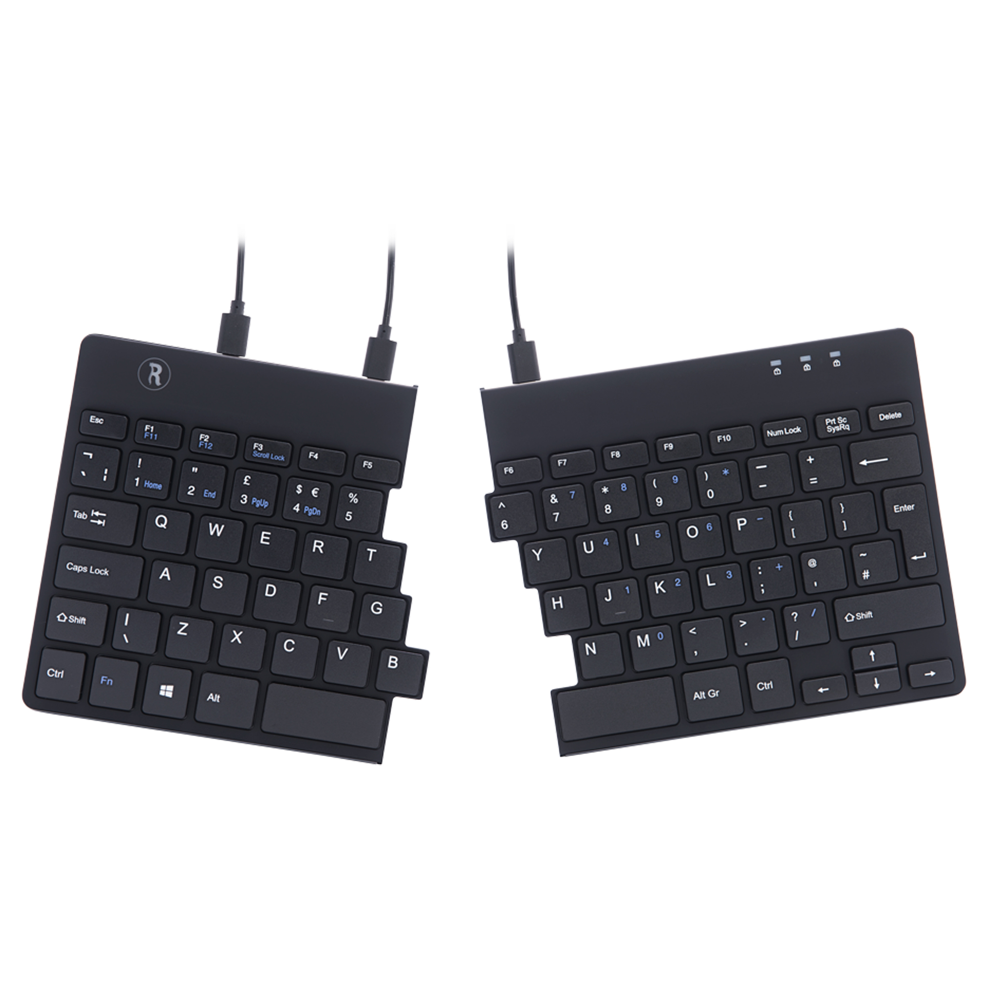 Split Ergonomic Keyboard Uk Layout Qwerty Blk Wired