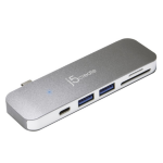 j5 create JCD388 interface hub USB 3.0 (3.1 Gen 1) Type-C 5000 Mbit/s Grey